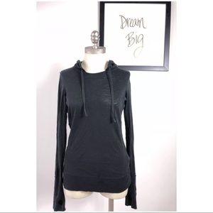 Alo Women Yoga Shirt Black Long Sleeve Medium